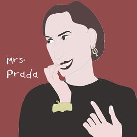 Miuccia Prada Mrs. Prada Portrait hand drawn Smiling with digital coloring