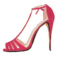 Pink high heel stiletto shoe illustration drawing by Azita Houshiar