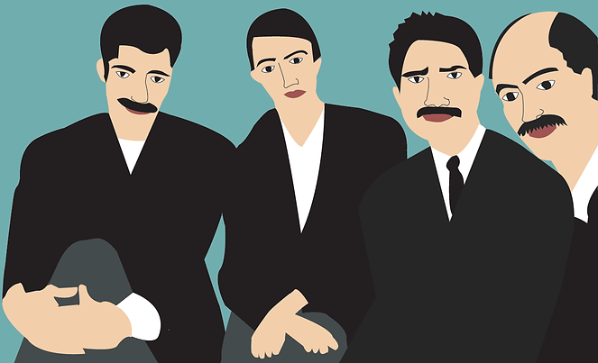 Group of men friends mustache young man thoughtful digital illustration portrait by Azita Houshiar
