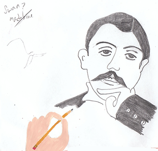 Marcel Proust pencil drawn illustration portrait with hand drawing and Swan Madeleine illustration