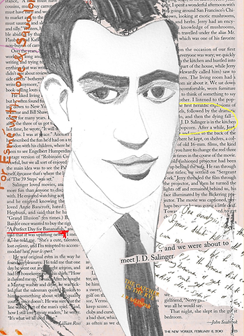 J.D. Salinger collage portrait illustration with New Yorker magazine article in background For Esme with Love & Squalor a tribute by Azita Houshiar