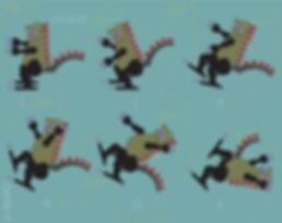 Oopsy Daisy Dragon | Illustration digital dragon dinosaur falling down funny by Azita Houshiar