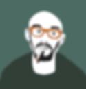 Man bald smoking hipster digital illustration