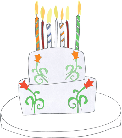 Birthday Cake with lit candles Illustration drawing by Azita Houshiar