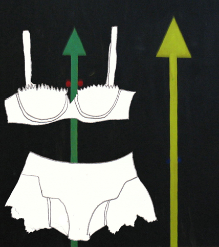 Abstract painting with bra and undies line drawing painting by Azita Houshiar