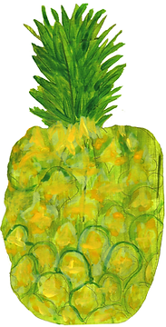 Painting of pineapple by Azita Houshiar