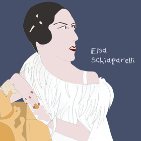Elsa Schiaparelli (Fashion Designer)  Portrait hand drawn with pencil with digital coloring