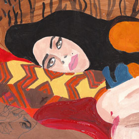 Portrait Amy Winehouse collage illustration lounging against animal print background pillows with doodle