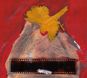 Canary Turkey Cutout Paper Collage paint artwork illustration by Azita Houshiar