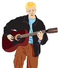 Blond man playing the guitar digital illustration
