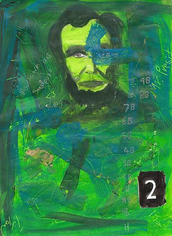 Mixed Media collage Abraham Lincoln #2 pencil  President by Azita Houshiar