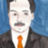 Man mustach portrait hand drawn color acrylic