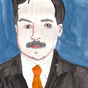 Man mustach portrait hand drawn color acrylic