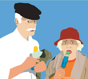 Illustration photo real Old man woman eating popsicle uncle aunt by Azita Houshiar