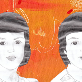 Collage portrait twin young girls pencil drawn against orange painted background with Allah Akbar inscribed