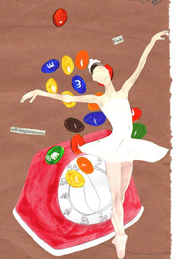 ballerina M & M candy red kitchen timer brown paper Fuck Self Improvement Mixed Media collage  by Azita Houshiar