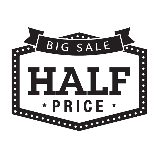 big sale half price sign