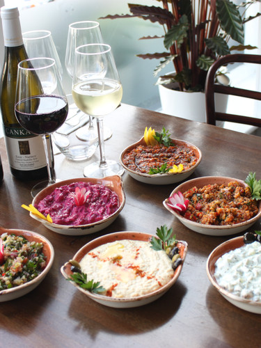 Cold Mezes with Turkish Wine