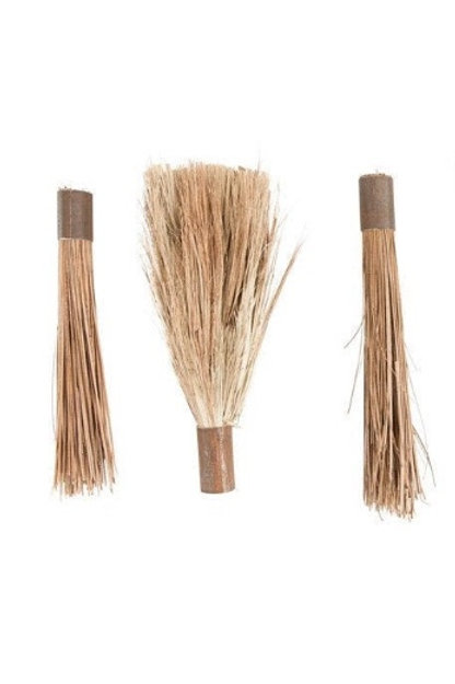 Set of 3 Found Vintage Brooms
