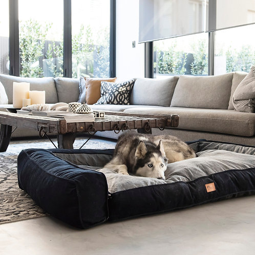 Scooby Sofa Dog Lounge Check Grey Small