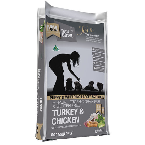 Meals For Mutts GF Turkey & Chicken Large Kibble For Puppy 20kg