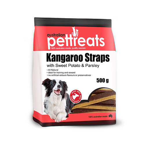 Kangaroo Straps with Sweet Potato & Parsley 500g