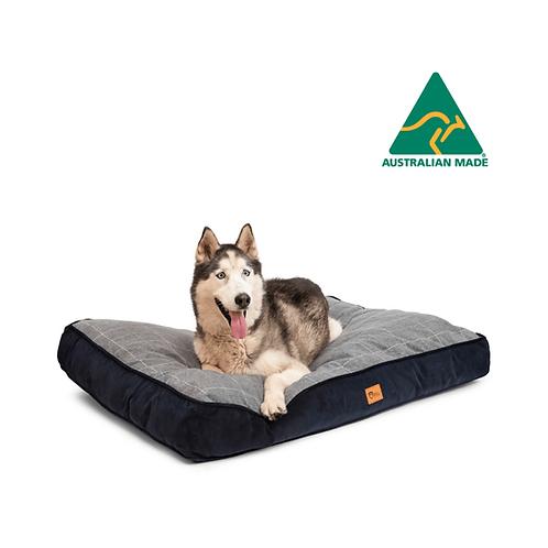 Hooch Dog Cushion Check Grey & Navy Corduroy Large