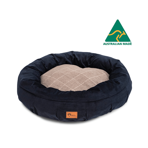 Harley Dog Bed Check Chocolate & Navy Corduroy Jumbo
