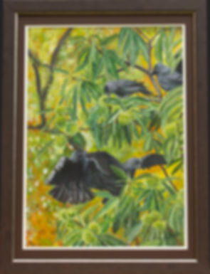Jackdaws in Sweet Chestnut Tree Painting