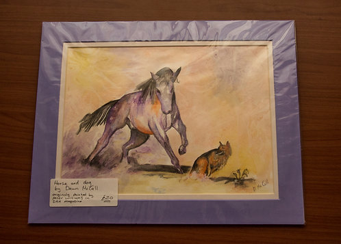 Original Horse and Dog Water Colour