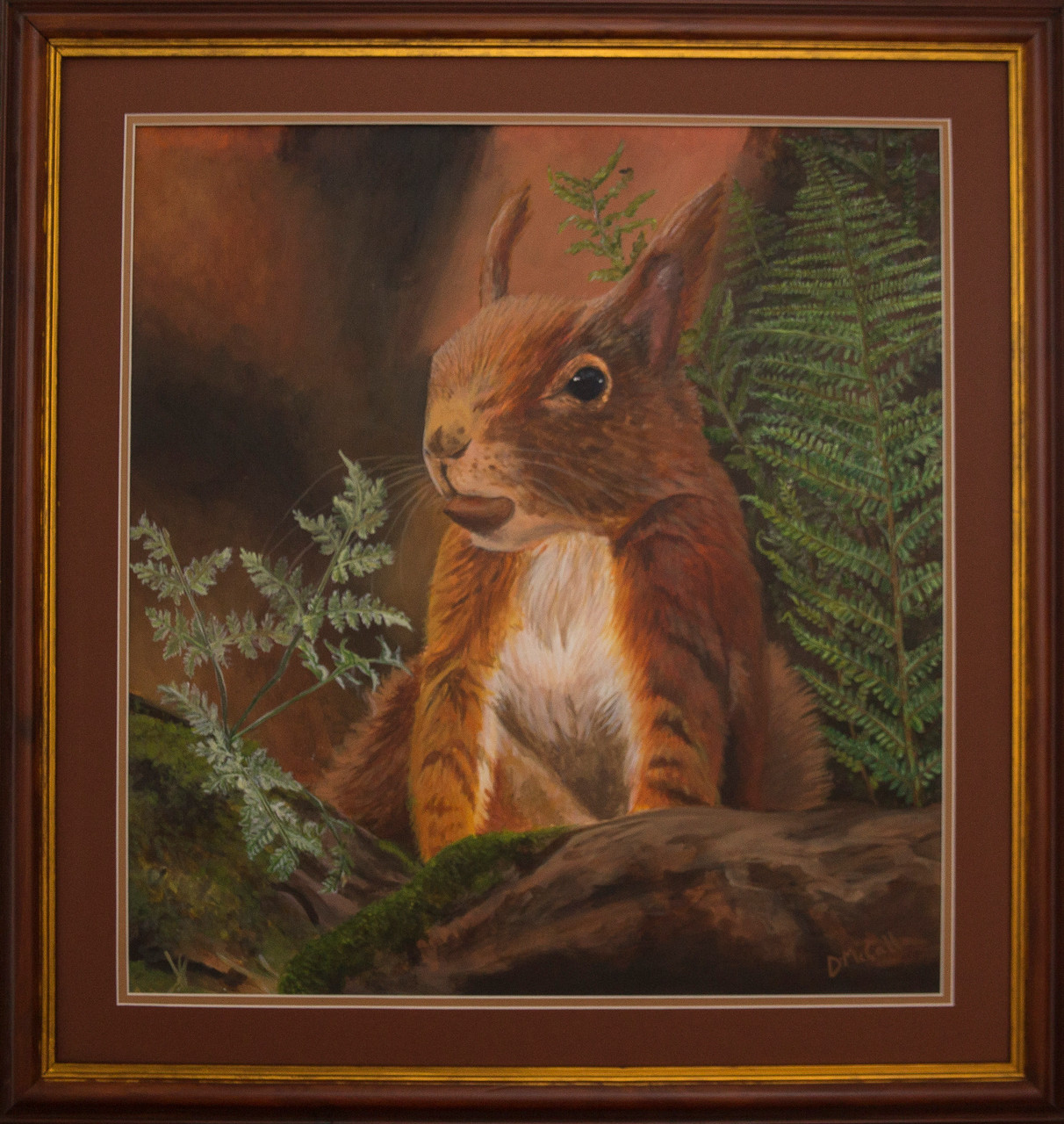 Red Squirrel Painting_ Mount & Frame