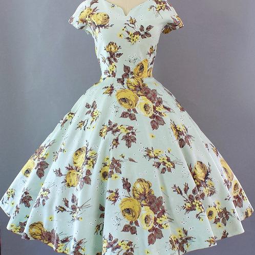 Yellow Rose Print Dress