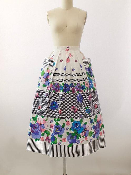 Lattice Rose Print Skirt