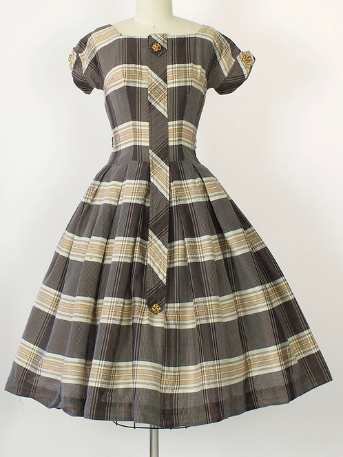 Chocolate Plaid Party Dress