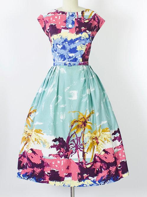 Island Print Cotton Dress