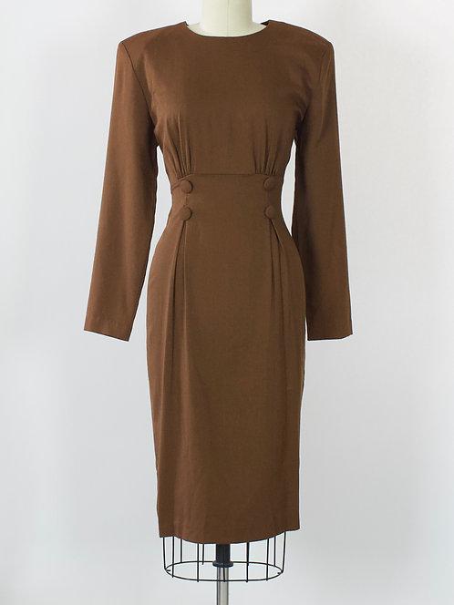Brown Cotton Sheath Dress
