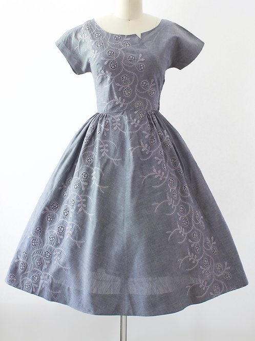 Chambray Vine Embroidered Dress