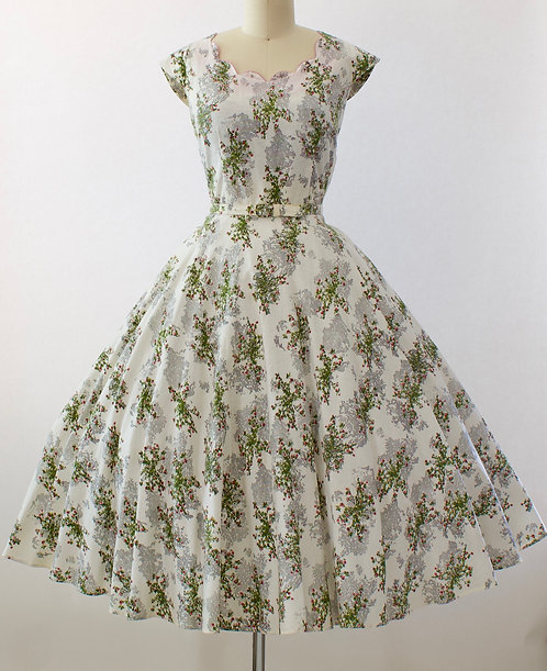 Spray Rose Print Dress