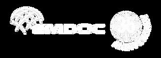Logo EMDOC 35 anos_ingles_branco_semslog