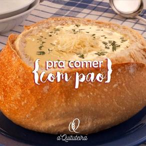 Sopa-creme de mandioquinha no pão