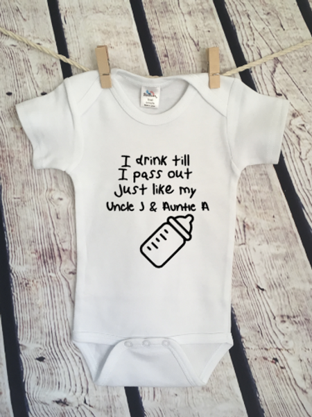 Drink till I pass out (personalized)  baby bodysuit and toddler shirt