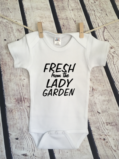 Fresh out of the lady garden baby bodysuit and toddler shirt