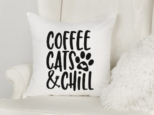 Coffee, Cats & Chill Pillow