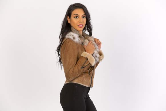 Stony shearling with bobcat fur