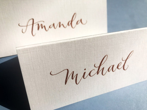 Gold ink on white place card