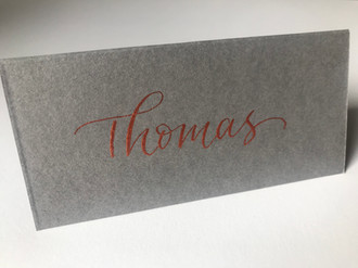 Copper ink on grey place card