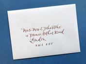 Copprt ink on ivory envelope