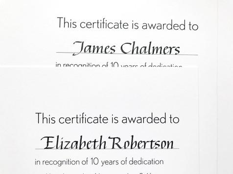 Inscribed certificates