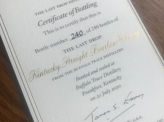 Whisky certificate