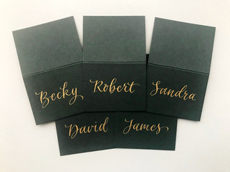 Gold ink on green place card